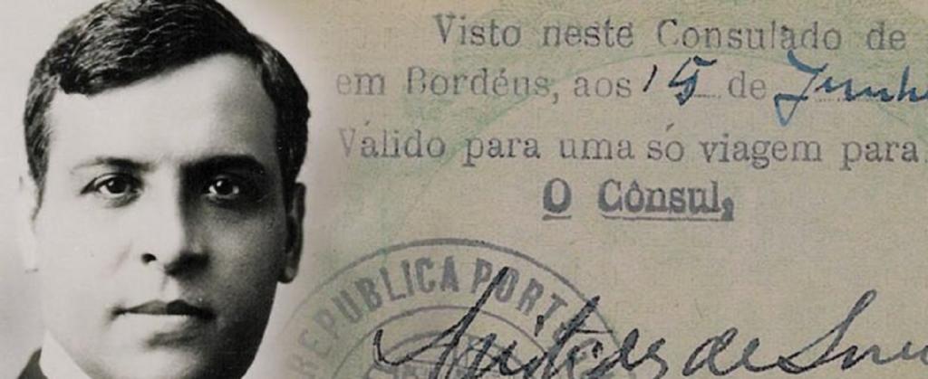 imagem do rosto de aristides de sousa mendes sobreposto num visto assinado por si enquanto cônsul de Bordéus